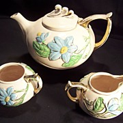 Tea Set - Hull Pottery Co. - Magnolia (Pink Gloss) pattern