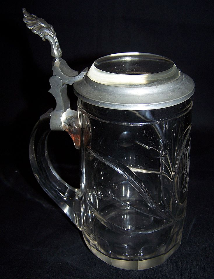 Glass Stein with Pewter and Crystal Glass top