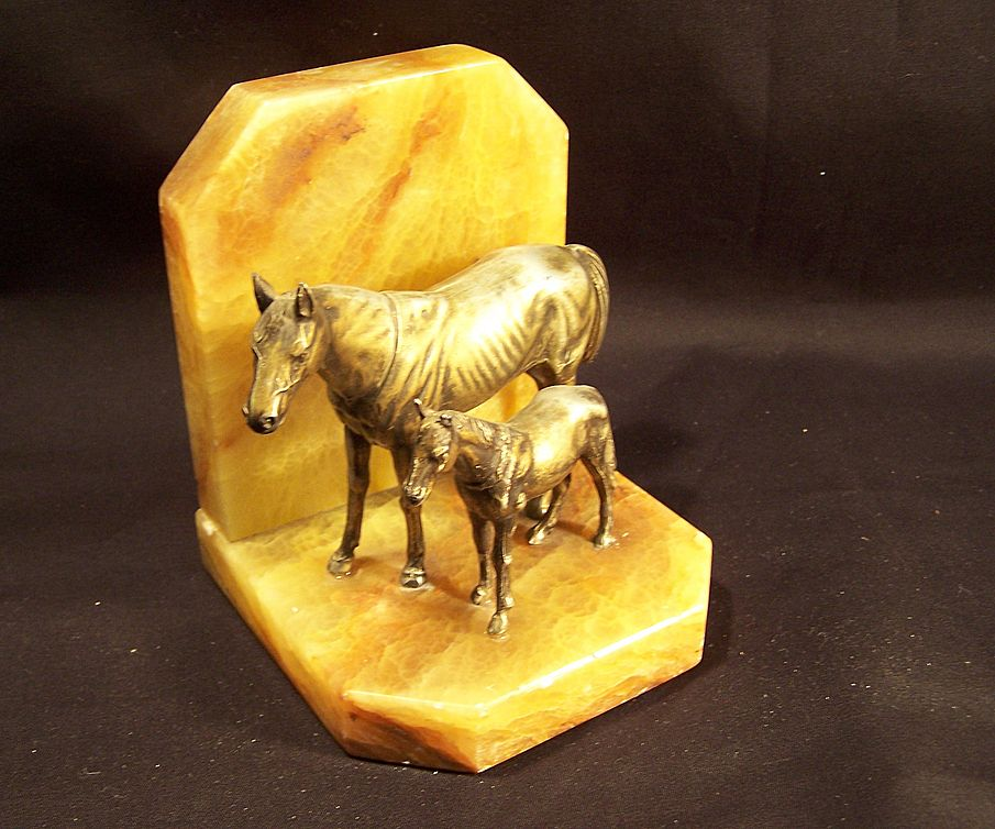 Horse Bookend--Marble & Bronze