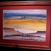 Native American Navajo Watercolor Sunrise Painting by Artist Charlie Yazzie