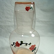Hand Painted Pink Glass Bedside Water Carafe & Tumbler