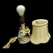 Porcelain German Gimbel Figural Boudoir Lamp--silk shade