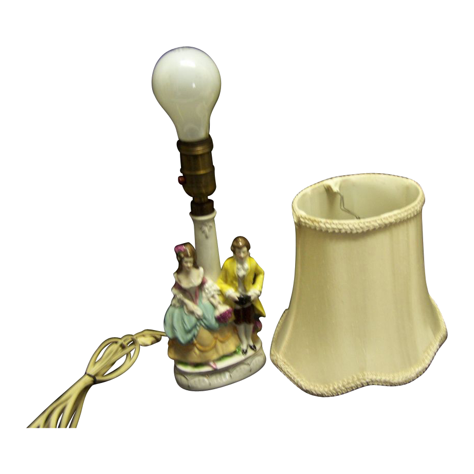 Porcelain German Gimbel Figural Boudoir Lamp--silk shade