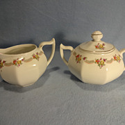 Bavarian Sugar Bowl and Creamer--Gold Gilt accents--Handpainted