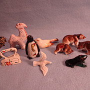 Ten Miniatures; Bears; Camel; Penguin; Frog; Rooster; Bird; Dove