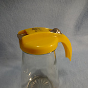 Yellow Top Glass Syrup Pitcher