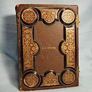 Vintage Photo Album, Gold Gilt Embossed leather, unused