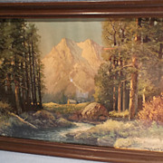"""Majestic Peaks"" Framed Lithograph  Print by Artist Robert Woods"