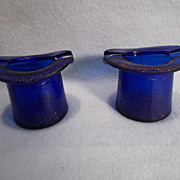Vintage Cobalt Blue Glass Top Hat Ashtrays or Toothpick Holders