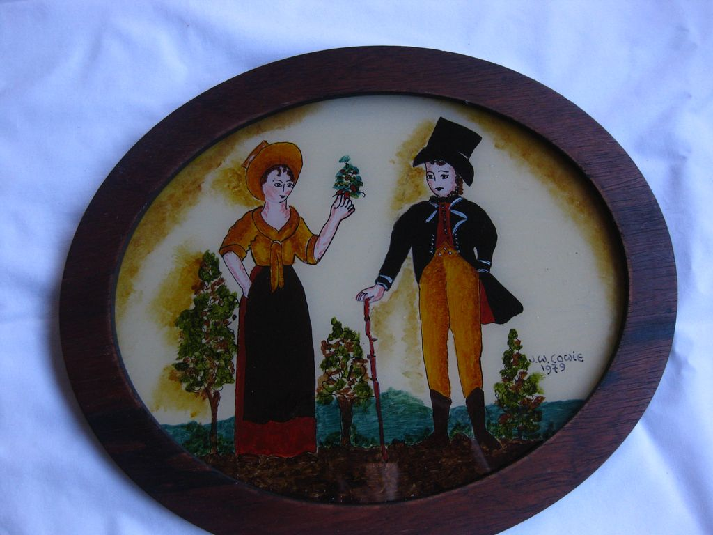 Wonderful Reverse Painting  in Oval Frame