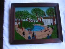 Folk Art Country Scene Reverse Painting