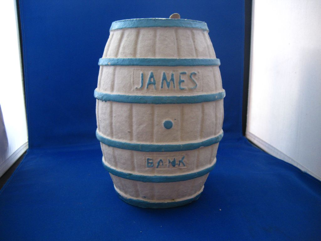 "Papier Mache Advertisement Bank ""James Salt Water Taffy"""