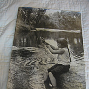 Wonderful Vintage  Photograph  of Girl Fishing