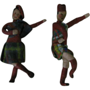 Papier  Mache  Miniature Scottish Dolls