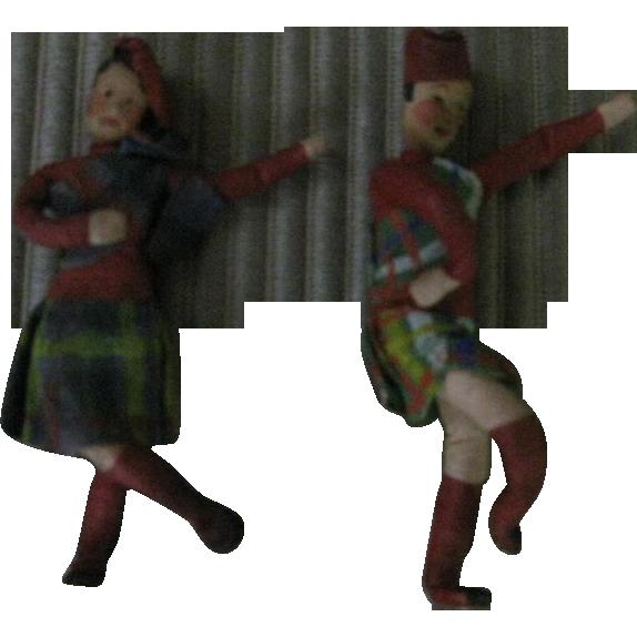 Papier  Mache  Miniature Scottish Dolls