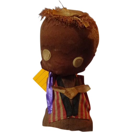 Cloth and Cork Black  Bobble Head Doll
