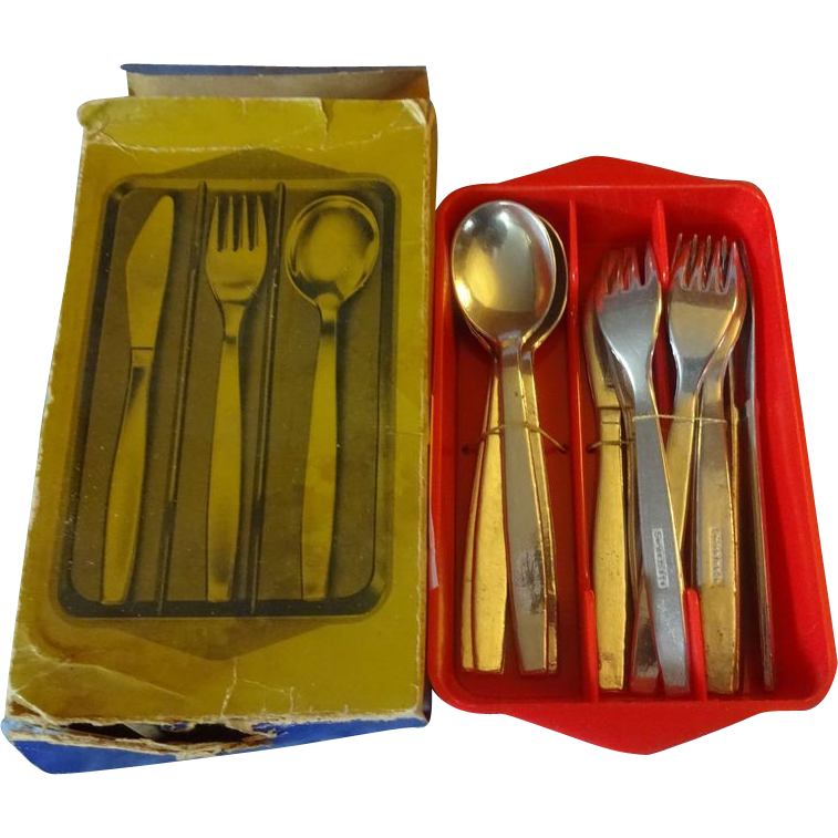 Red Plastic Tray with Metal Utensils From Switzerland