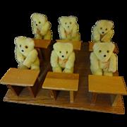 School Room with 6 student Bears and 1 Teacher Bear