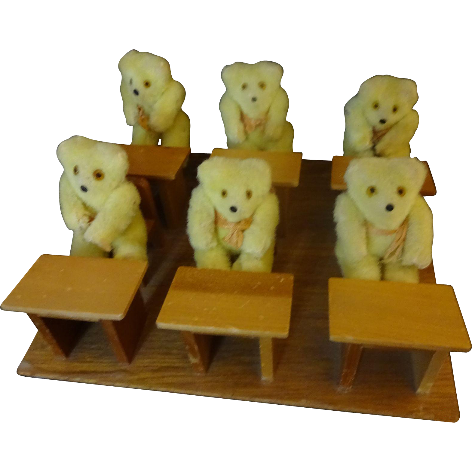 School Room with 6 student Bears and 1 Teacher Bear