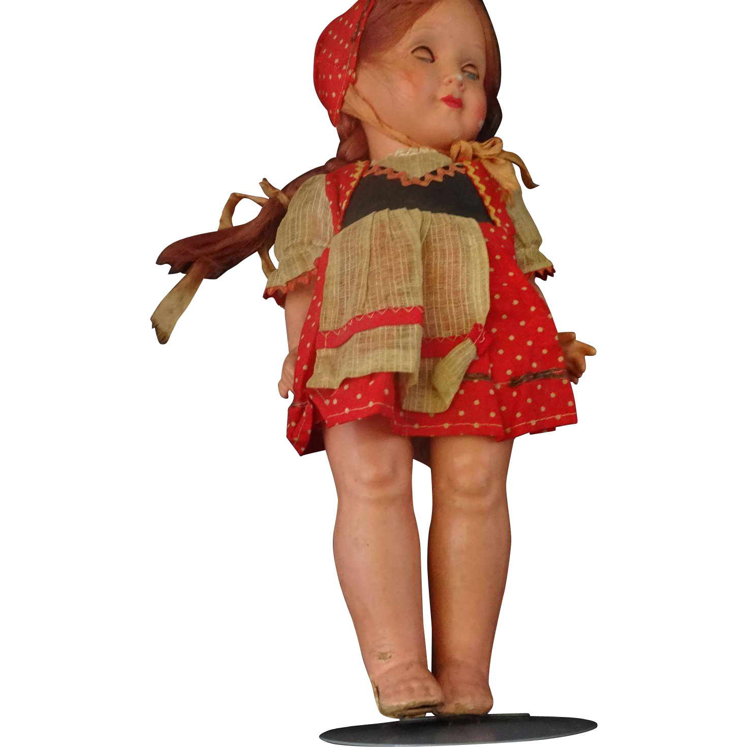 Papier Mache  Doll  With Hard Plastic Head