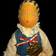 Polish Relief  Fund  Doll  by Madame Paderewski  1914  Cloth Doll