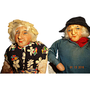 Vintage Ravca Pair Cloth Dolls