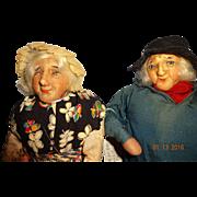 Vintage Ravca Pair Cloth Dolls