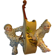 Amusing German  Bisque Figure of Two Laughing  Clowns