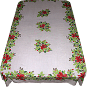 Large Vintage Christmas Tablecloth ~ Bells, Bows & Holly