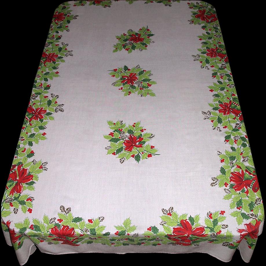 Large Vintage Christmas Tablecloth