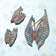 Vintage Gold Tone Butterfly Pin & Clip Earring Set ~ Turquoise Glass Stones