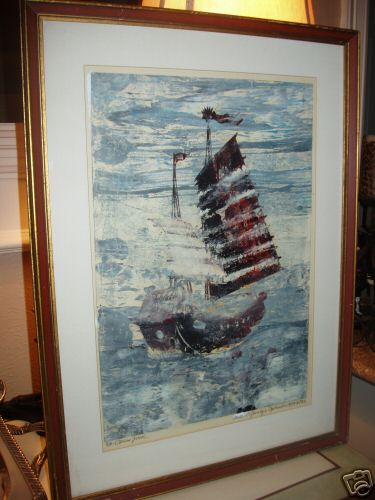 Paul Sprohge 1974 Hand Pulled Lithograph - Opium Junk, signed and numbered