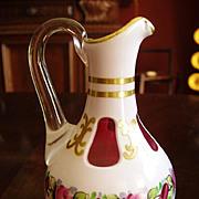 Moser Cased Art Glass White & Cranberry Cruet - marked