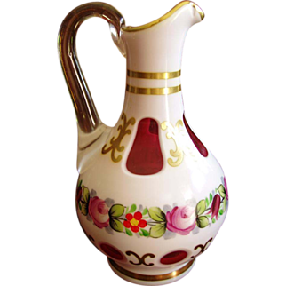 Moser Cased Art Glass White & Cranberry Cruet - marked