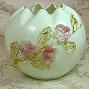 Large Antique Webb Art Glass Vase with applied flowers