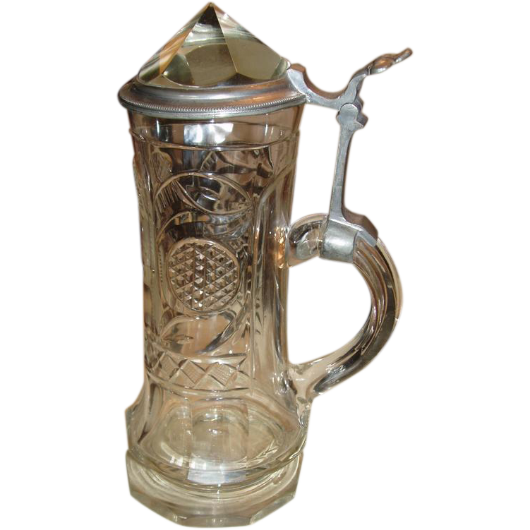 Antique Crystal & Pewter Lidded Stein
