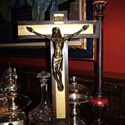 Vintage Religious Icon - Self Standing Wood & Metal Crucifix