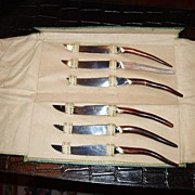 Vintage set of 6 rustic antler handle steak knives