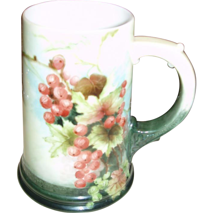 Signed Antique American Belleek Mug Stein Currants
