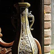 Antique Meiji Period Brass Bud Vase