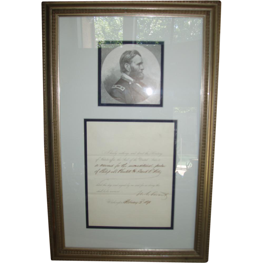 1871 Ulysses S. Grant signed Presidential Pardon
