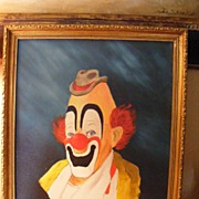 Clown Portrait dated 1983 Oil on Canvas (3 of 3)
