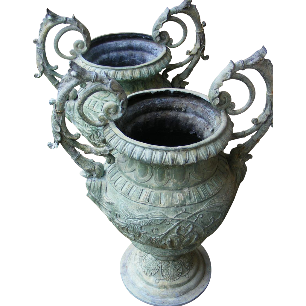 Vintage pair of Patinated Iron Garden Urns - Large - FREE SHIPPING!