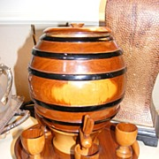 Vintage Wooden Barrel Drink Set - Ecuador