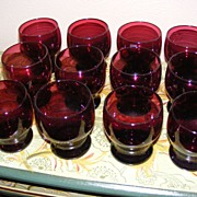 Set of 12 vintage hand blown amethyst tumblers