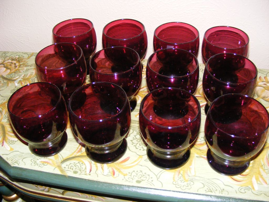 Set of 12 vintage hand blown amethyst tumblers