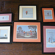 Collection of 6 Vintage Johnnie Tiger Indian Art Prints 1972 - 1974
