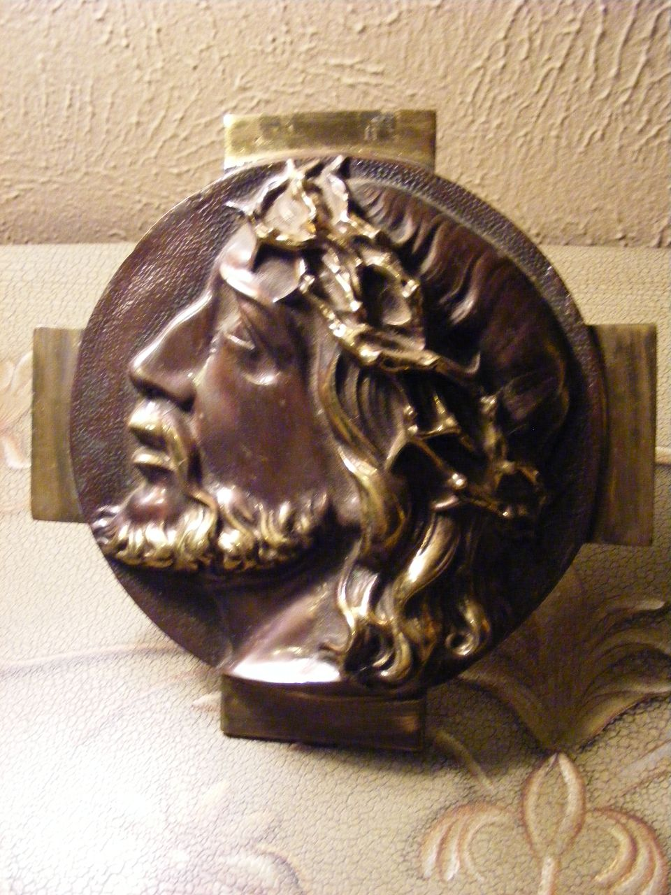 Vintage Patinated Brass Plaque of Jesus