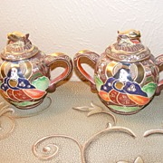 Morimura Brothers (Noritake) Hand Painted Satsuma Tea Pot and Sugar