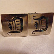 Vintage .925 Silver Taxco Cuff Links Abalone Monogram D Free Shipping